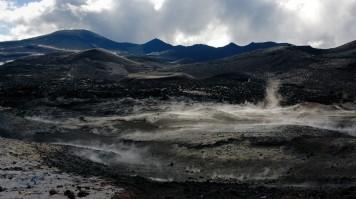 Fimmvorduhals trek pass near Eyjafjallajokull volcano