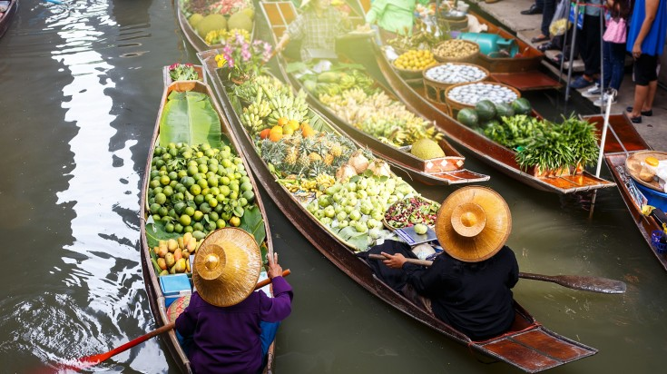 Floating markets are one of the noticeable highlights of the Mekong Delta