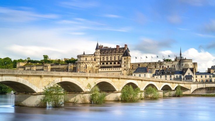 A medieval castle and bridge on Loire river in France