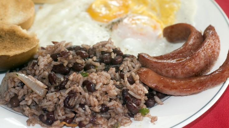 Gallo pinto is a favorite Costa Rican food eaten for breakfast