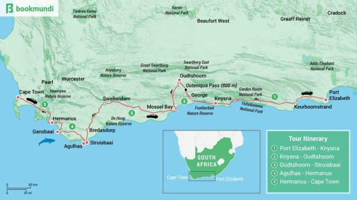 Garden Route Road Trip Map