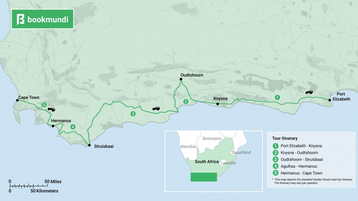 map of the Garden Route road trip