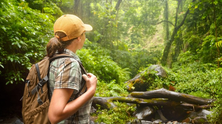 Girl hiking in Arenal Volcano National Park