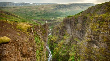 Glymur waterfall in Iceland drops to a majestic canyon