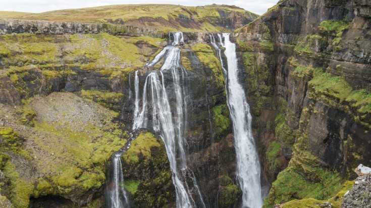 Glymur waterfall in Iceland gushes at 198 m drop