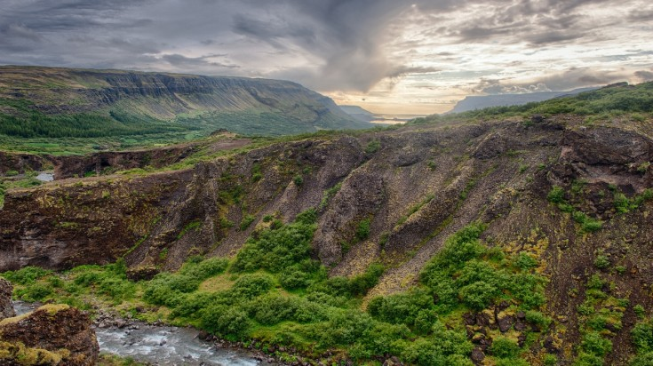 Landscape near Glymur waterfall in Iceland