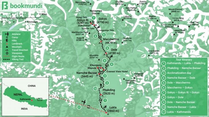 Gokyo Trek Map with Itinerary