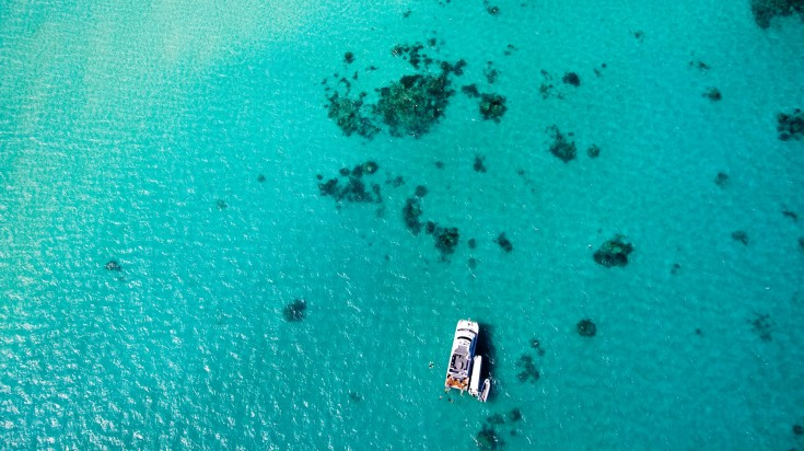 A boat preparing divers to dive in Great Barrier Reef