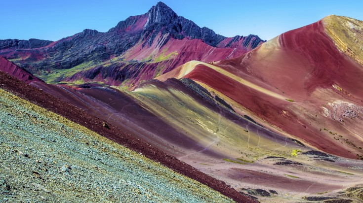 View of the colourful and vibrant Rainbow Mountains in Peru