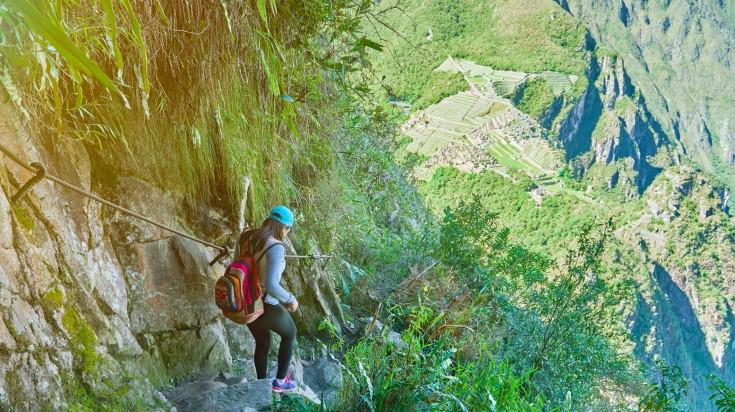 A female backpacker on her trek from Vilcabamba to Machu Picchu