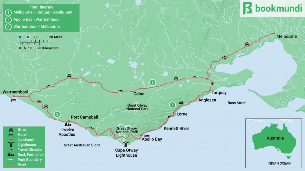Australia Tour Map.Great Ocean Road Tour An Itinerary Bookmundi