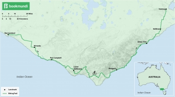 An overview map of the biking trail in The Great Ocean Road, Australia.