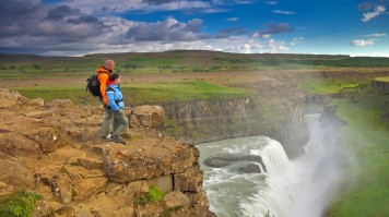 Gullfoss waterfall in Iceland is a popular tourist attraction