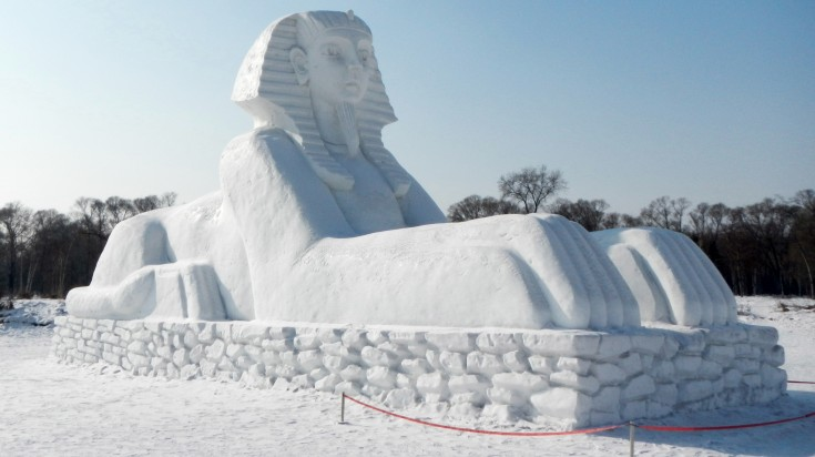 An ice sculpture of the Sphinx at the Harbin Ice Festival