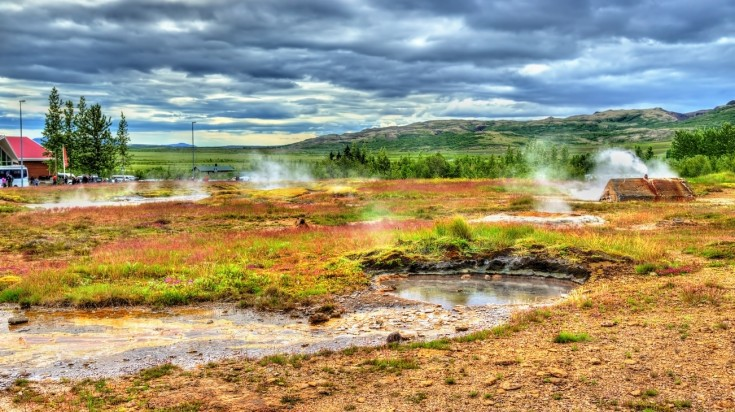 Haukadalur Valley in Iceland is home to the Great Geysir