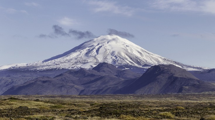 View of Mount Hekla in Iceland