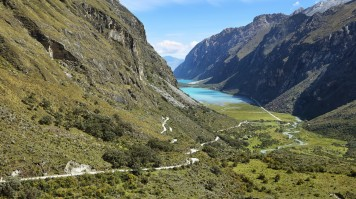 Llanganuco lakes are the first attraction in the Laguna 69 day hike trail