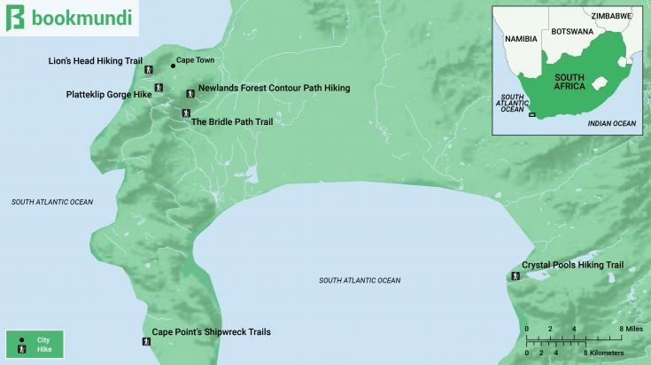 Hiking trails in Cape Town Map