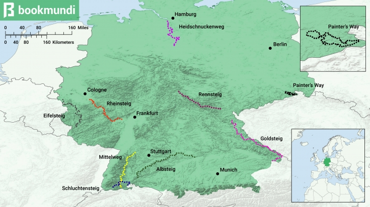 Germany hiking trails map