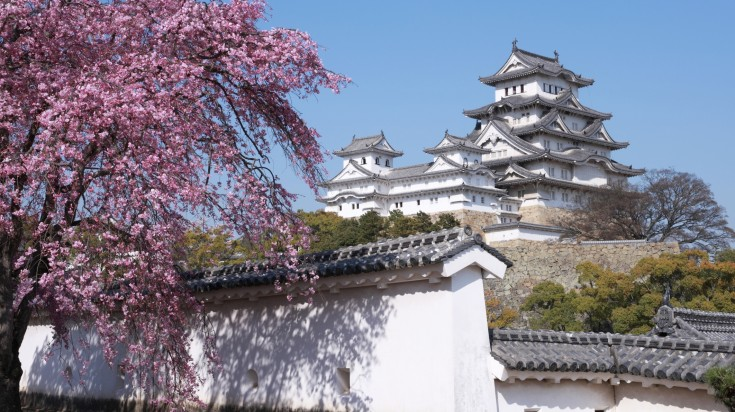 Situated in the hilltop, Himeji castle is a beautiful Japanese castle.