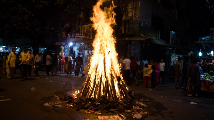 Holika Dahan during Holi Festival in India