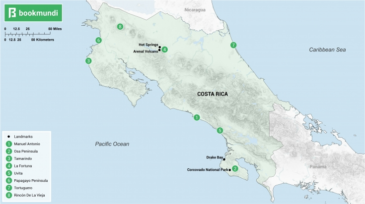 Honeymoon in Costa Rica map