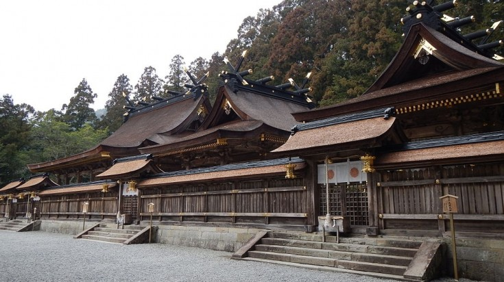 The third and final shrine in Kumano Kodo trail is found on a ridge surrounded by giant cedar.