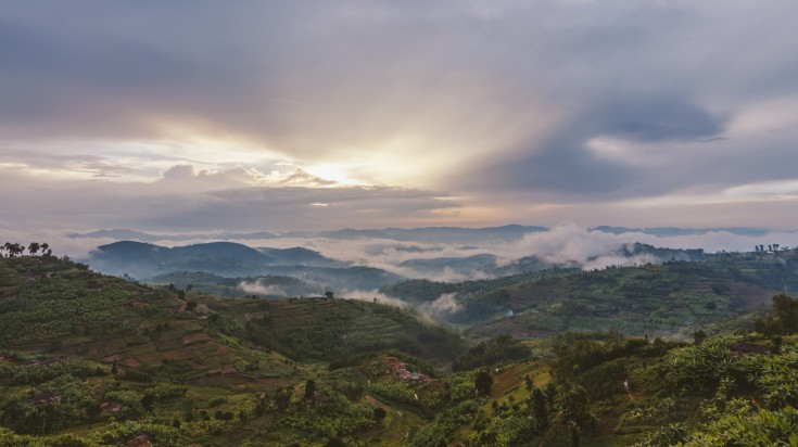 The view of Rwandan hills and a beautiful sunsets