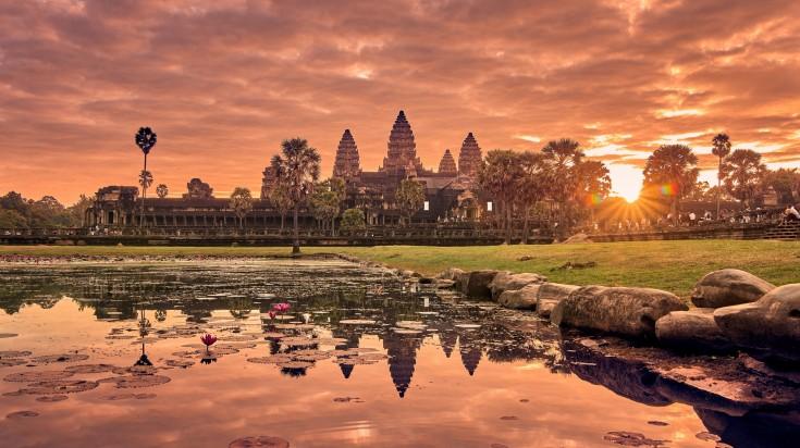 Sunrise at Angkor Wat, a UNESCO World Heritage