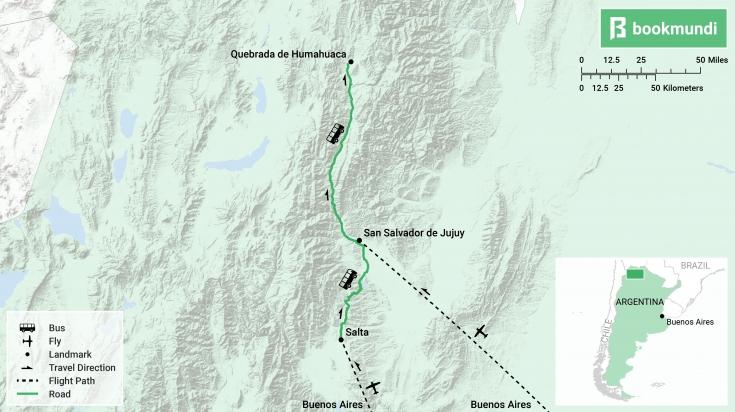 Map for getting to Quebrada de Humahuaca