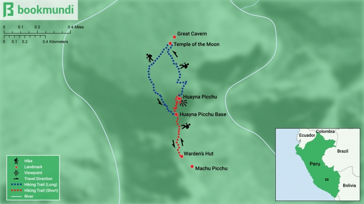 Map of Huayna Picchu hike