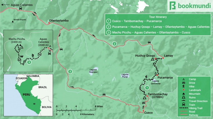 map of the Huchuy Qosqo trek