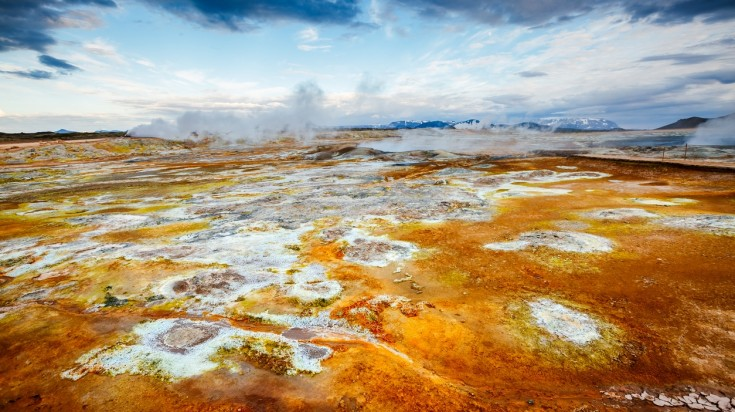 Hverarond is a geothermal area near Lake Myvatn