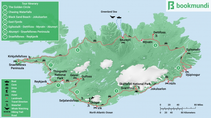 Map of Iceland Road Trip itinerary