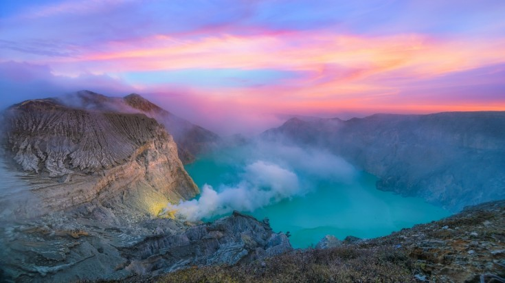 Mount Ijen is an Indonesian volcano with a lake in its crater