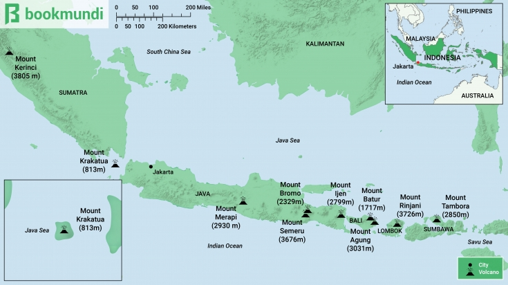 Indonesia volcanos map