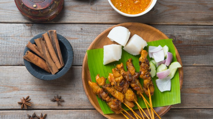 Satay is a famous street food in Indonesia