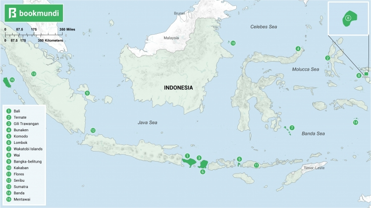 Indonesian Islands to Visit map