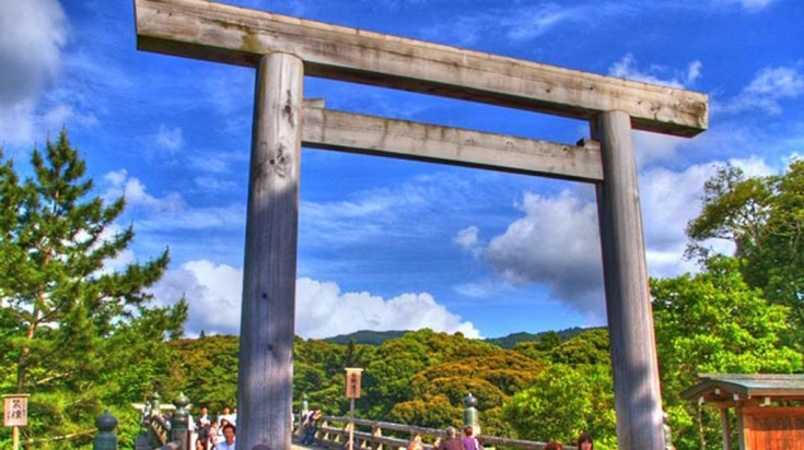 The Japanese traditional gates can be found in shrines throughout the Kumano Kodo trail.