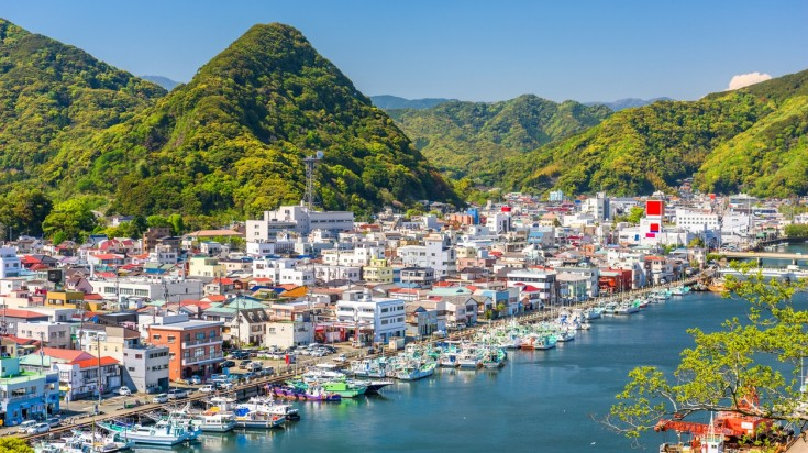 Izu peninsula is a perfect off the beaten path in Japan, famous for its hot springs and mountain scenes.
