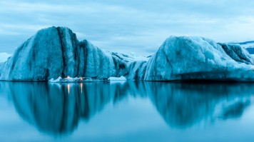Calm waters of the Jokulsarlon glacier lagoon in Iceland