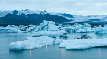 Jokulsarlon glacier lagoon's icebergs illuminated with candles