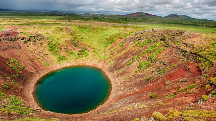 The Kerid Crater is a lake in a volcanic crater in Iceland
