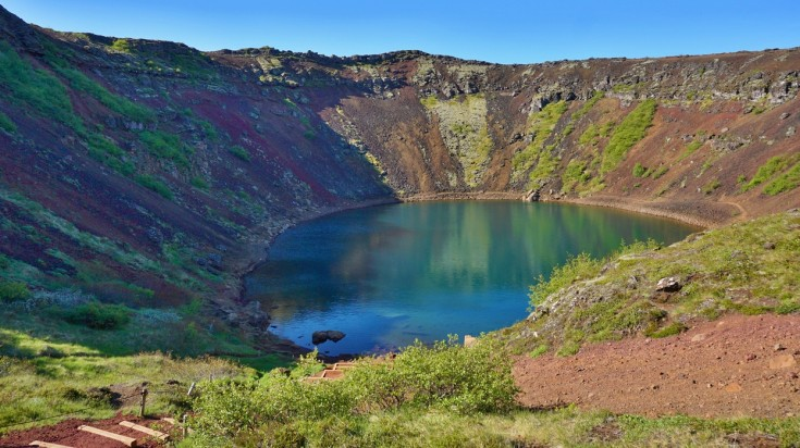 The Kerid Crater in Iceland is only about 3,000 years old