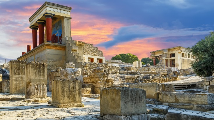 Knossos palace is famous for its greek mythology and architecture.