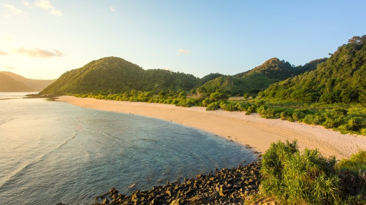 Kuta beach in Lombok is one of the popular beaches on the island.