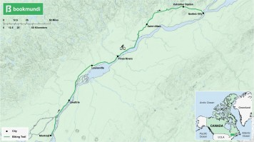 An overview map of the biking trail in La Route Verte, Canada.