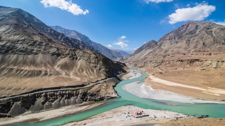 Zankar and Indus river confluence in Ladakh