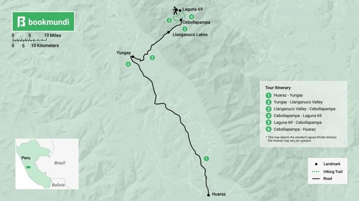 Laguna 69 hike itinerary