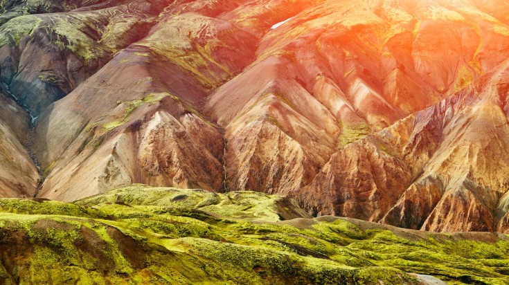 Colourful rhyolite mountains in Landmannalaugar Iceland